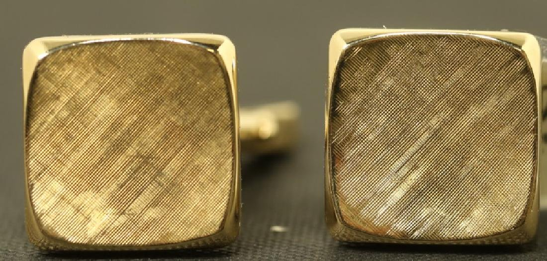 """A PAIR OF STAMPED """"14KT-TIFFANY & CO."""" CUFFLINKS"""