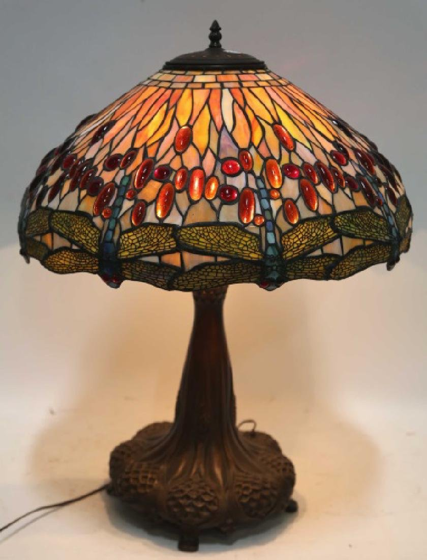 PAIR OF TIFFANY STYLE BRONZE AND LEADED GLASS LAMP