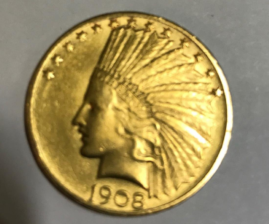 $10 1908 INDIAN HEAD GOLD COIN
