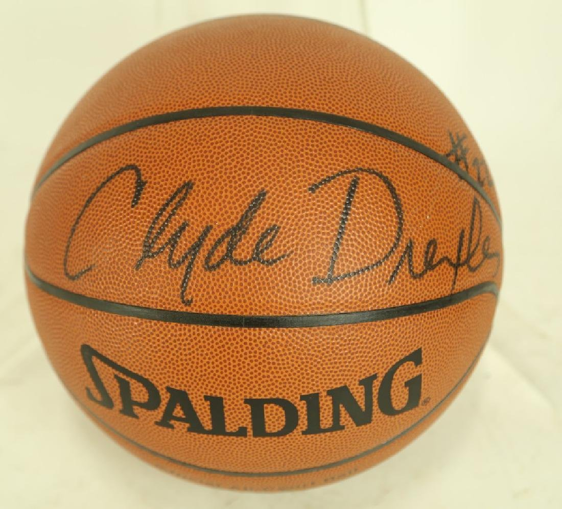 CLYDE DREXLER AUTOGRAPHED OFFICIAL SIZE BASKETBALL