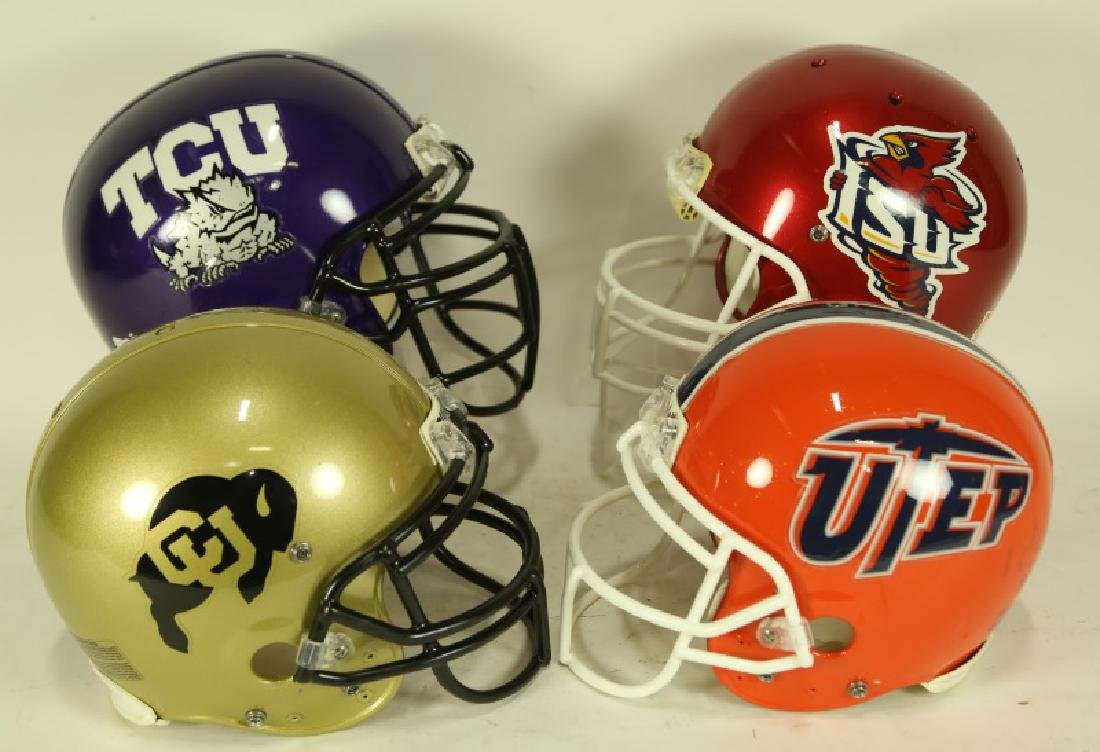 FOUR NCAA COLLEGE FOOTBALL HELMETS