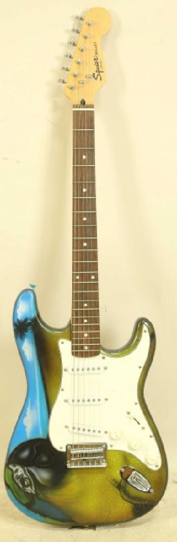 SQUIER BULLET FENDER GUITAR SIGNED BY JIMMY BUFFET