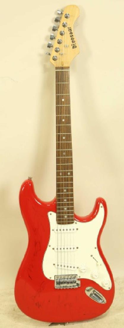 SIGNED DINOSAUR RED GUITAR BY ZZ TOP