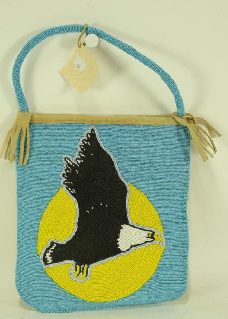 "HAND BEADED DEERSKIN BAG ""BALD EAGLE"""