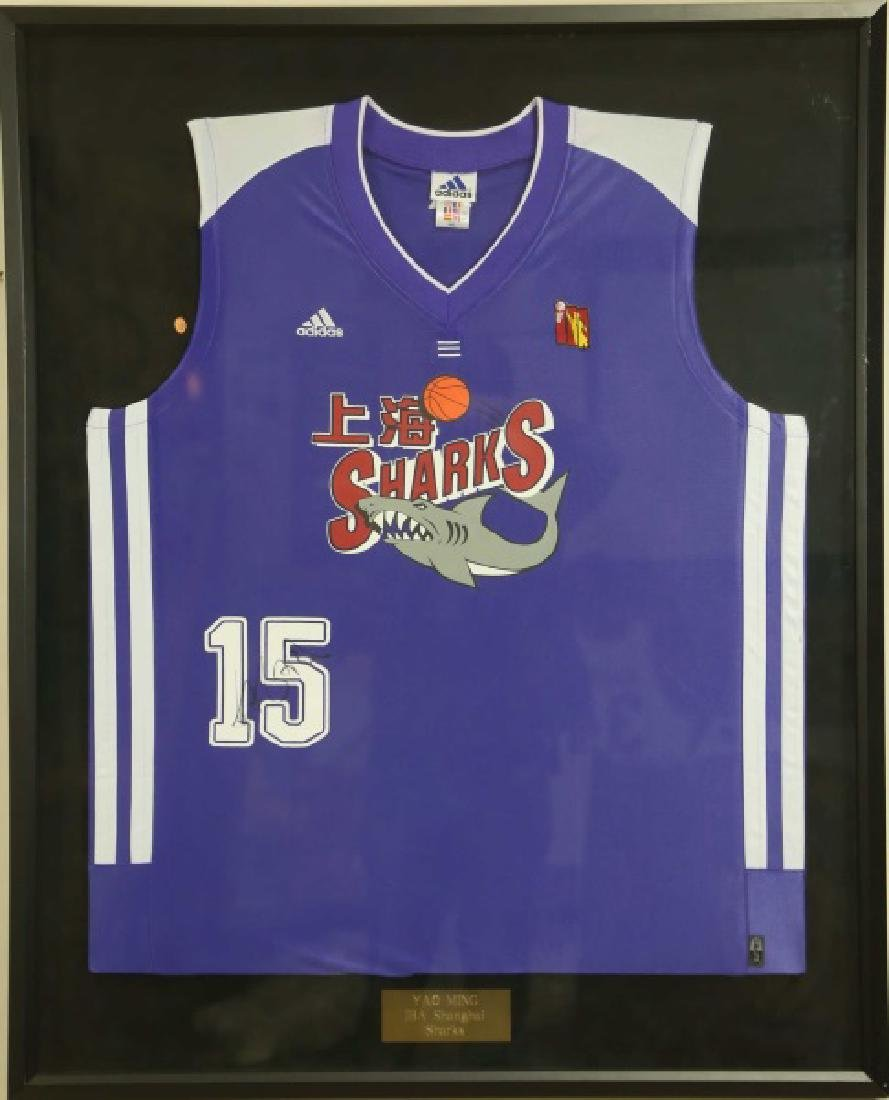 SIGNED FRAMED YAO MING #15 SHANGHAI SHARKS JERSEY