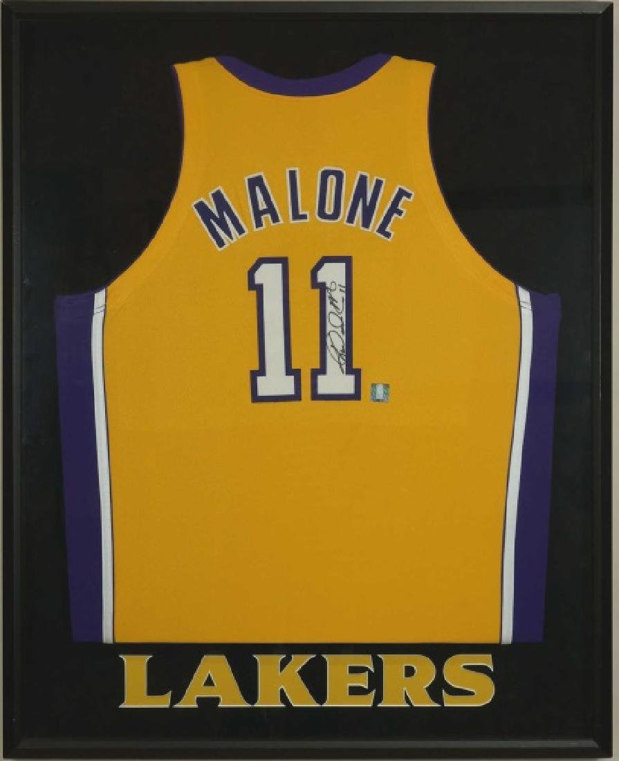 SIGNED MOSES MALONE LAKERS JERSEY