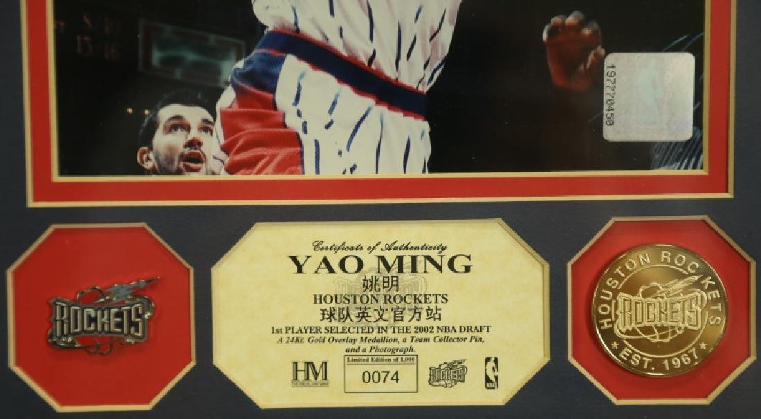 YAO MING 24KT GOLD MEDALLION, TEAM PIN & PHOTO - 2
