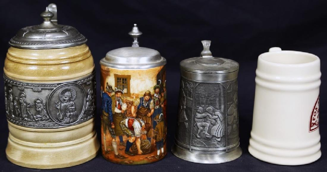 MIXED LOT OF FOUR BEER STEINS