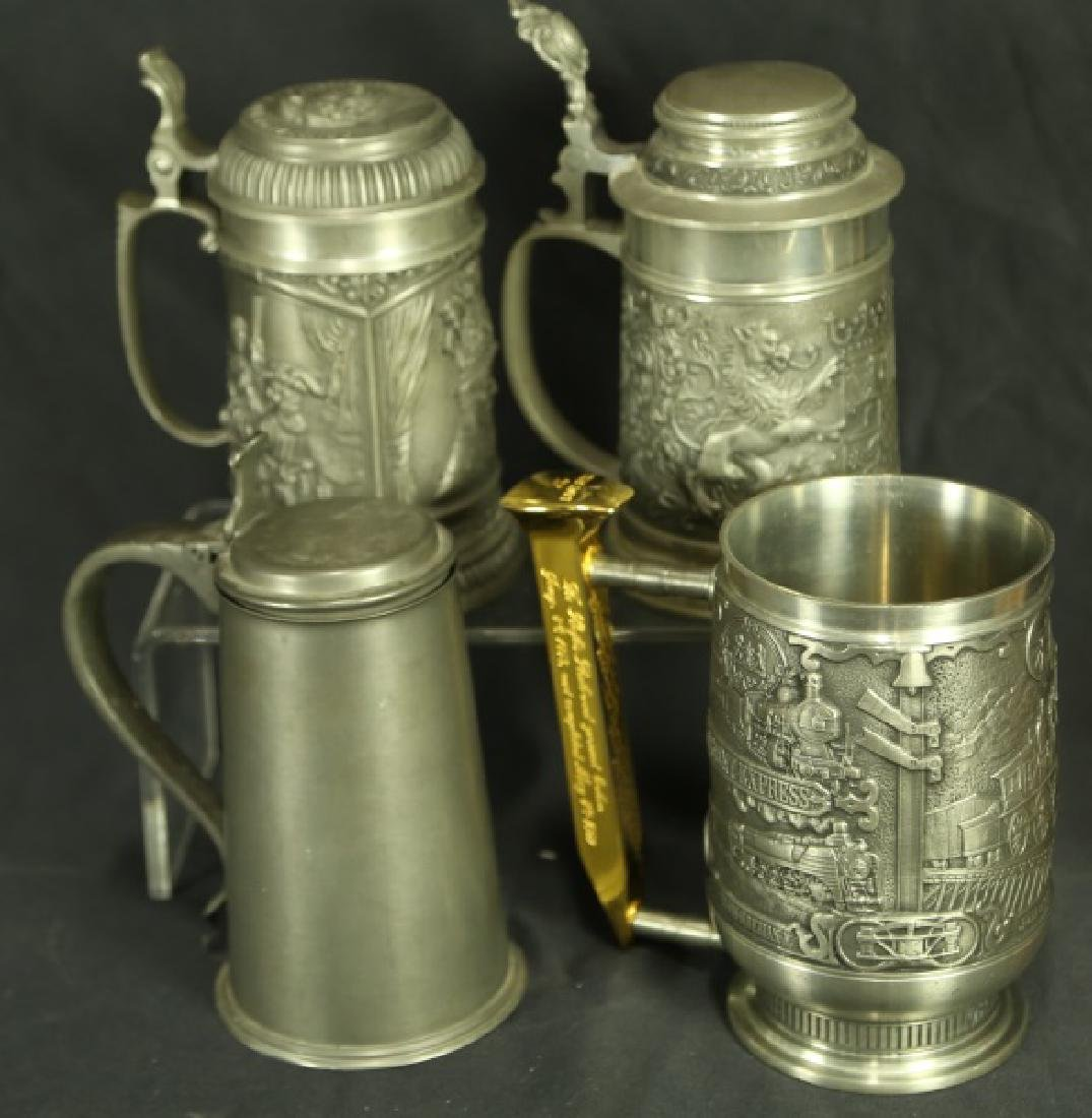LOT OF FOUR PEWTER BEER MUGS/STEINS