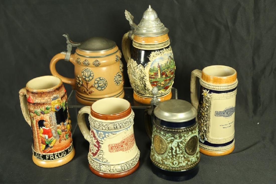 LOT OF SIX BEER MUGS/STEINS
