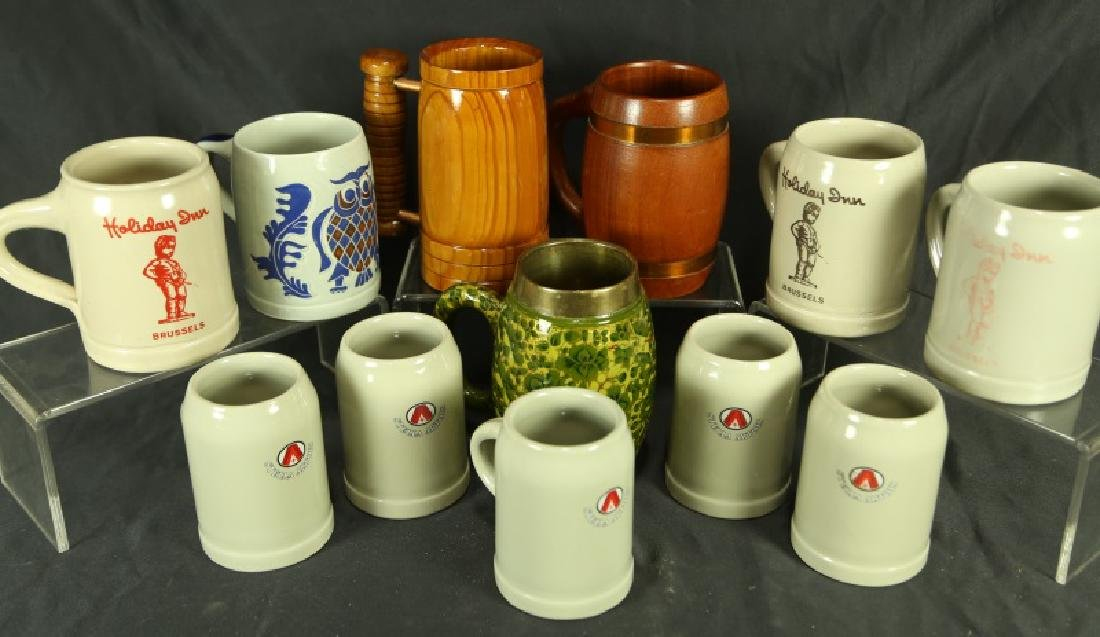 MIXED LOT OF TWELVE BEER MUGS