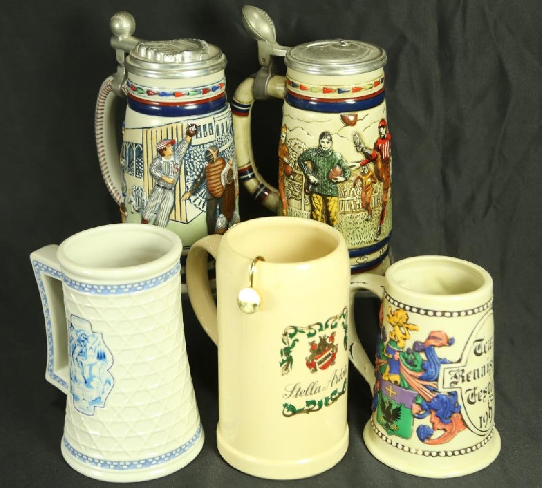 LOT OF FIVE BEER MUGS/STEINS
