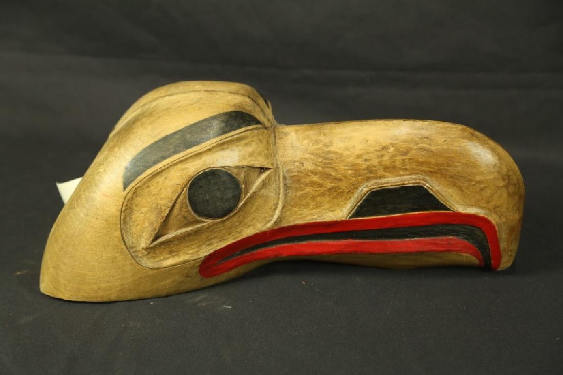 PAINTED WOODEN CARVING OF HAWK HEAD EAGLE MASK