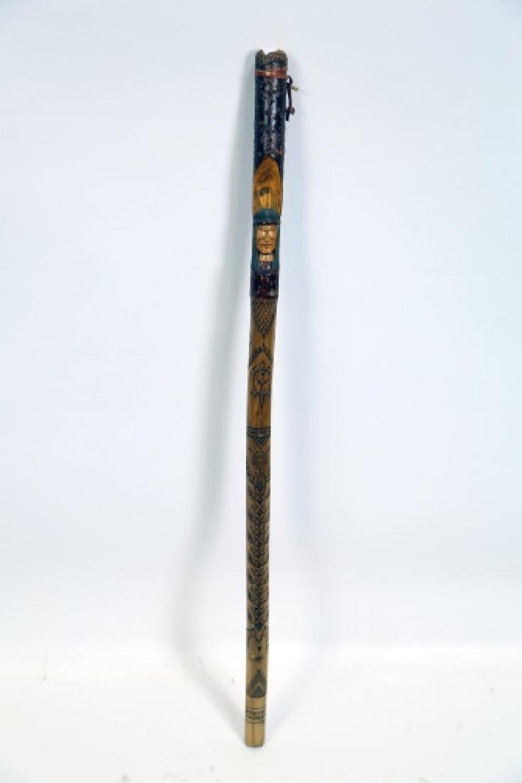 NATIVE AMERICAN HAND CARVED WOODEN CANE