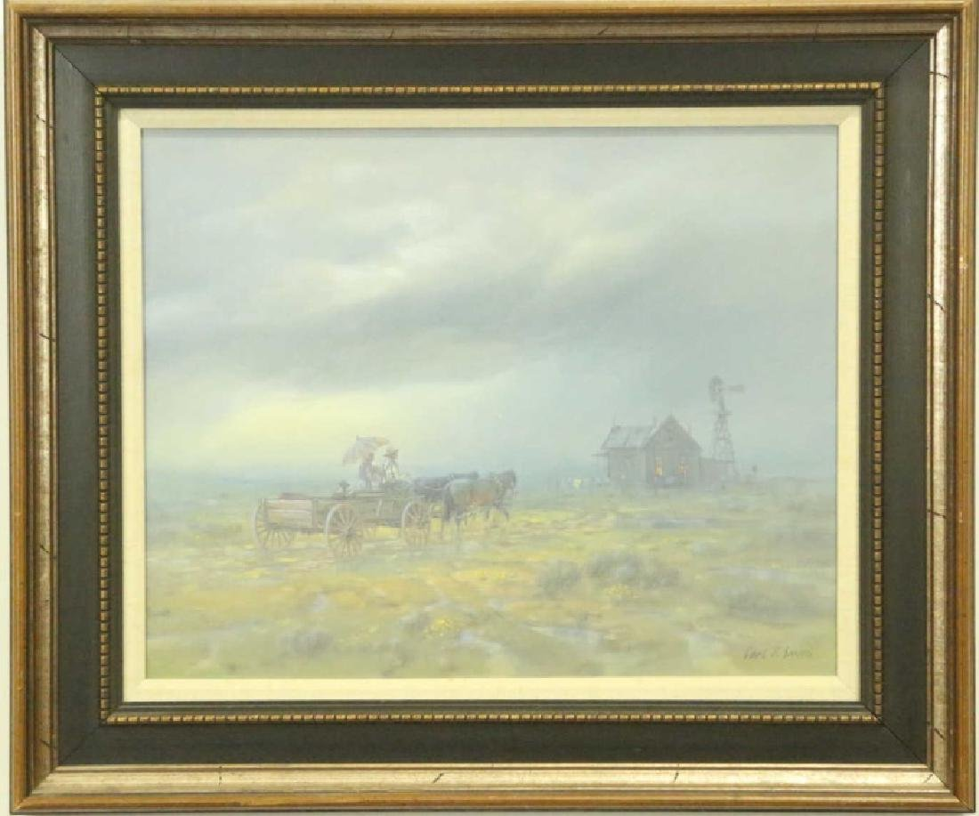 "CARL J. SMITH ""HOME IN THE RAIN"" OIL ON CANVAS - 2"