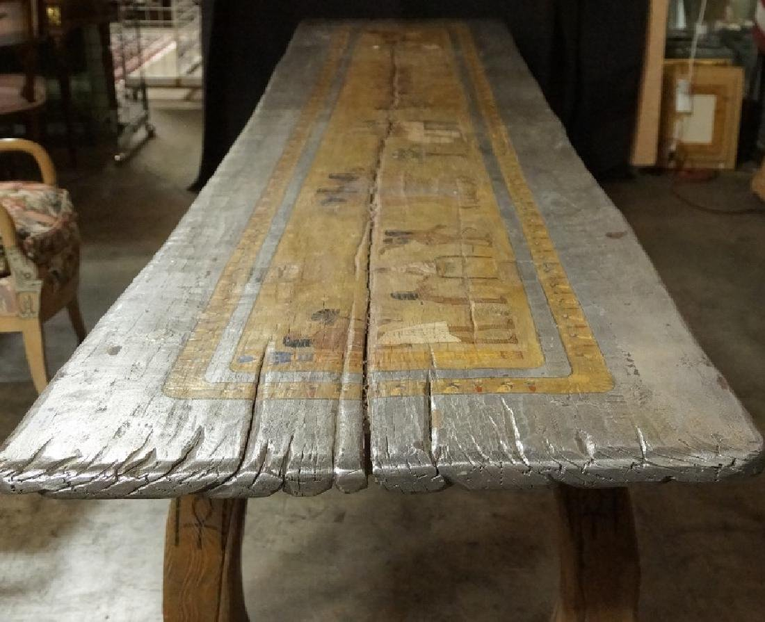 EGYPTIAN DECORATION ON ROUGH HEWN PLANK TABLE - 2