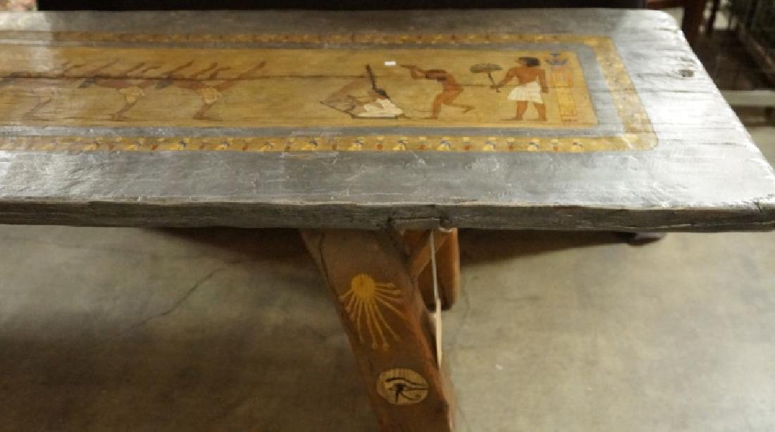 EGYPTIAN DECORATION ON ROUGH HEWN PLANK TABLE - 4