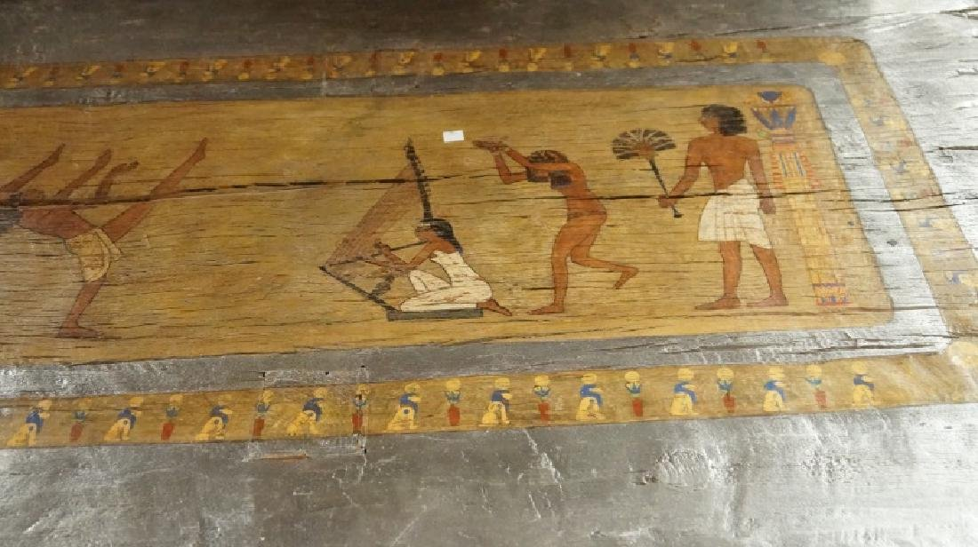 EGYPTIAN DECORATION ON ROUGH HEWN PLANK TABLE - 5