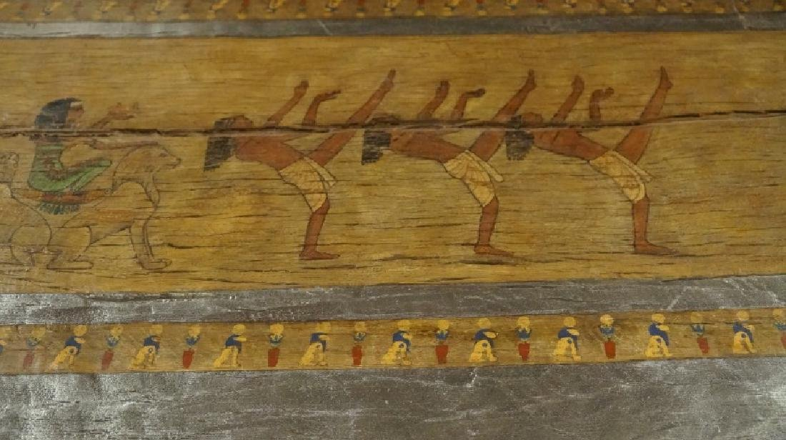 EGYPTIAN DECORATION ON ROUGH HEWN PLANK TABLE - 6