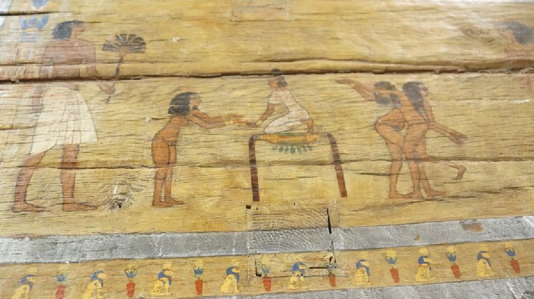 EGYPTIAN DECORATION ON ROUGH HEWN PLANK TABLE - 7