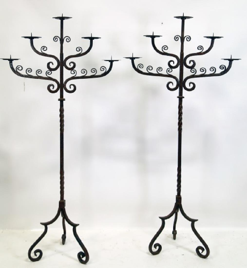 PAIR OF WROUGHT IRON FLOOR CANDELABRA
