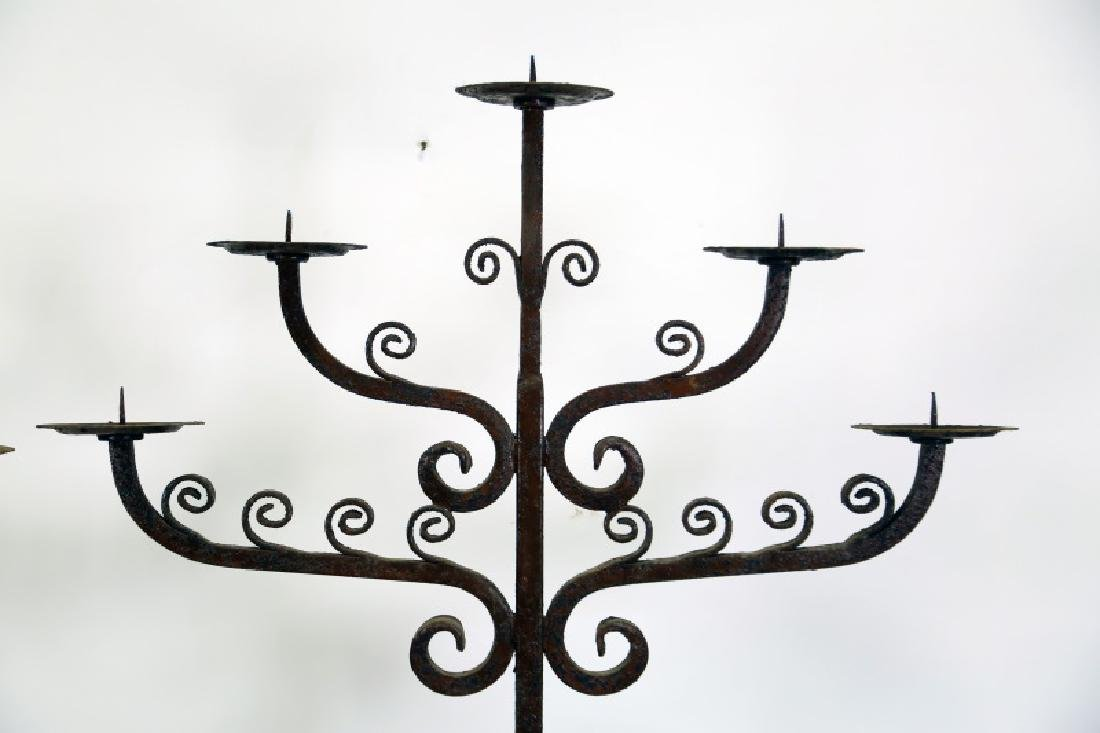 PAIR OF WROUGHT IRON FLOOR CANDELABRA - 2