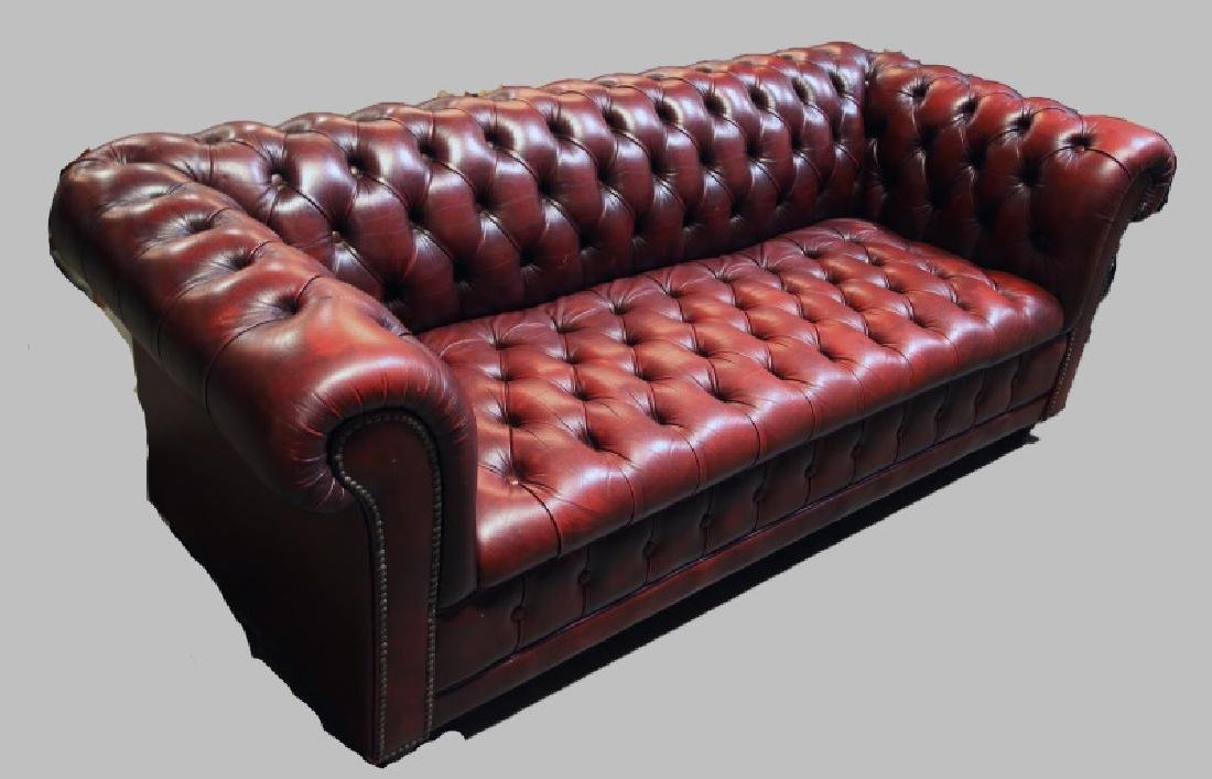 CHESTERFIELD BUTTON-TUFTED LEATHER SOFA