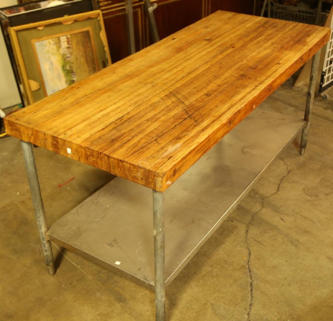 BUTCHER BLOCK TABLE ON STEEL BASE
