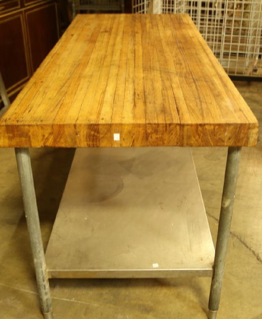 BUTCHER BLOCK TABLE ON STEEL BASE - 2