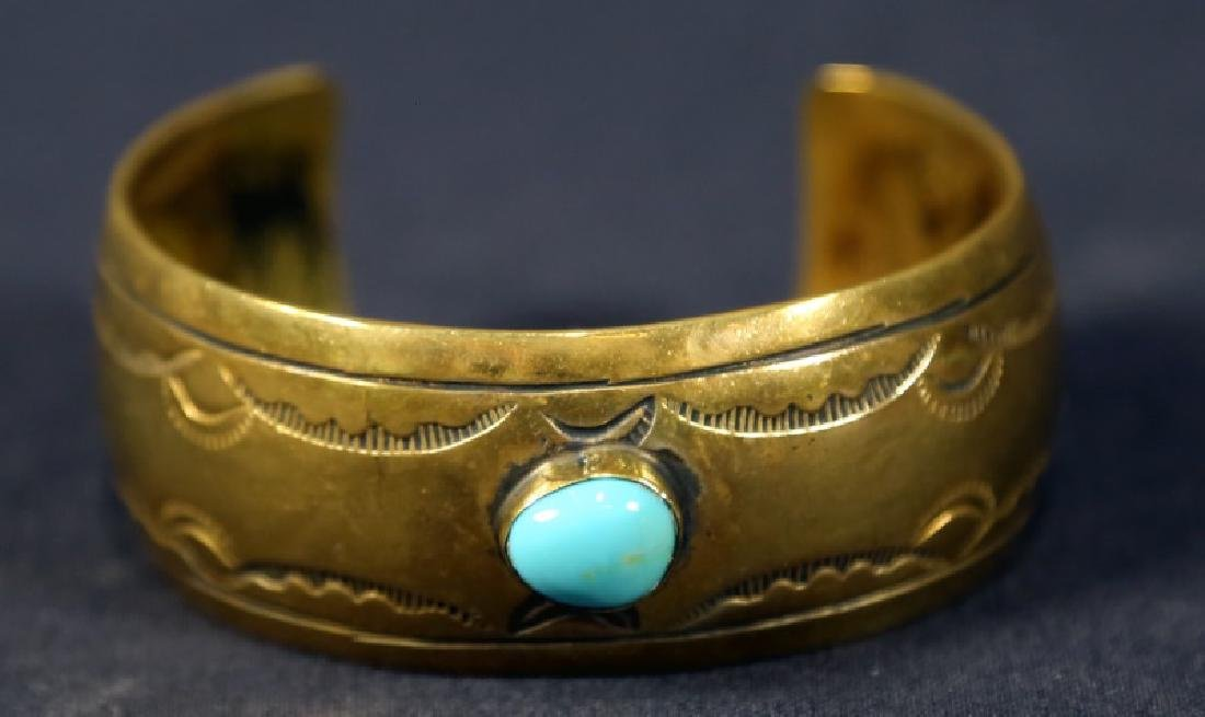 VINTAGE BRASS AND TURQUOISE INDIAN CUFF BRACELET