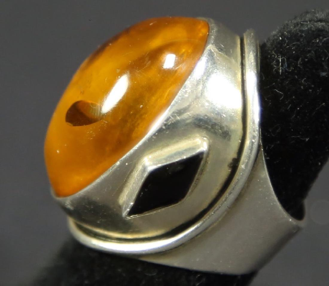 CUSTOM STERLING SILVER CABOCHON SET AMBER DOME RING - 2
