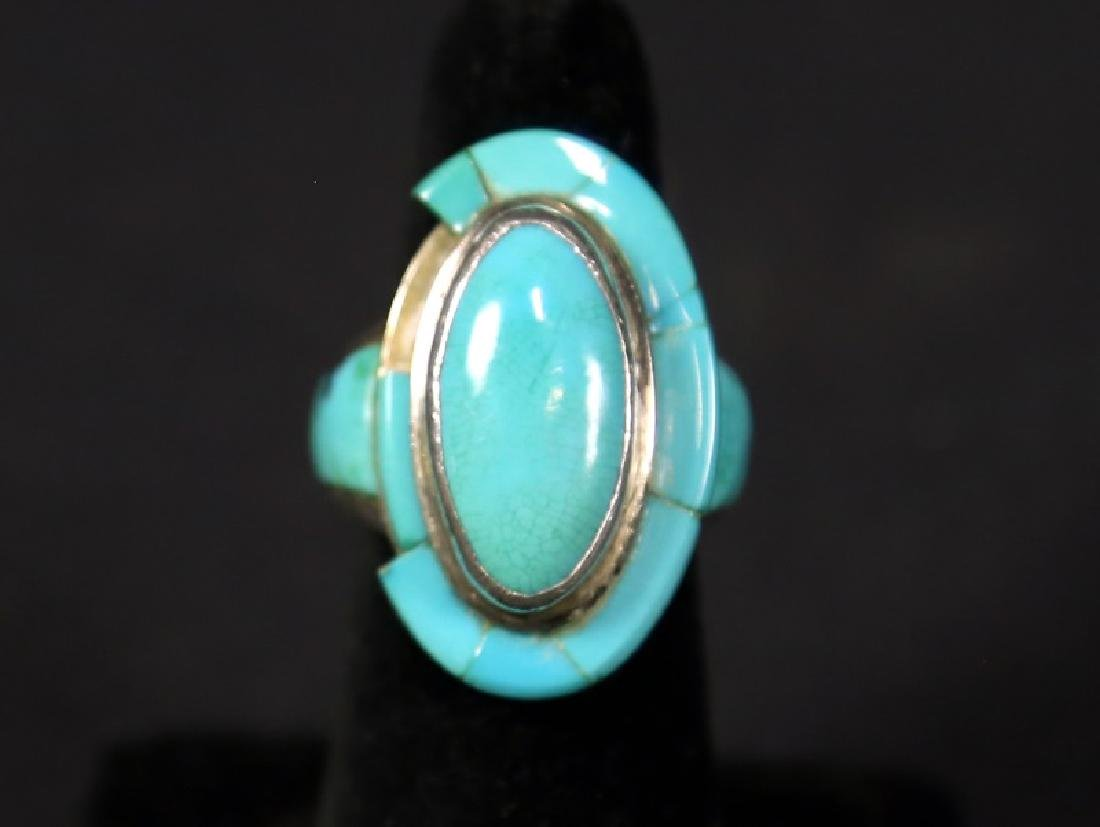 VINTAGE SILVER & TURQUOISE MEXICAN HAT RING