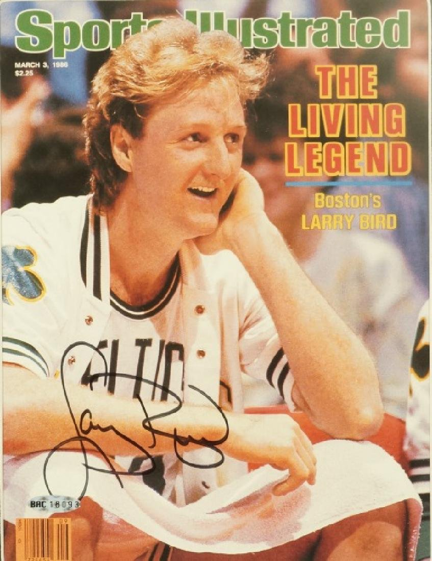 AUTOGRAPHED SPORTS ILLUSTRATED LARRY BIRD ISSUE