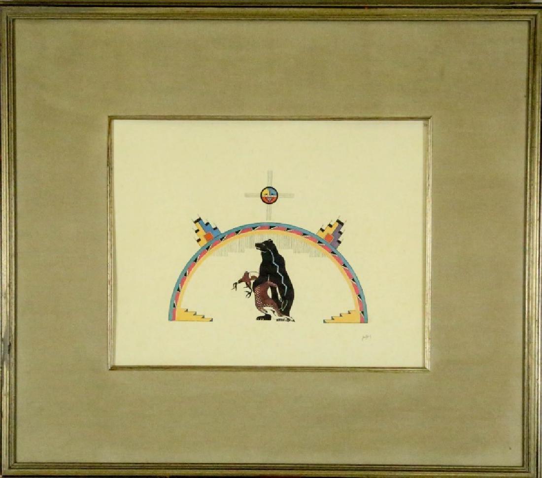 "AWA TSIREH ""RAINBOW OVER BEAR WITH DEER"" LITHOGRAPH"