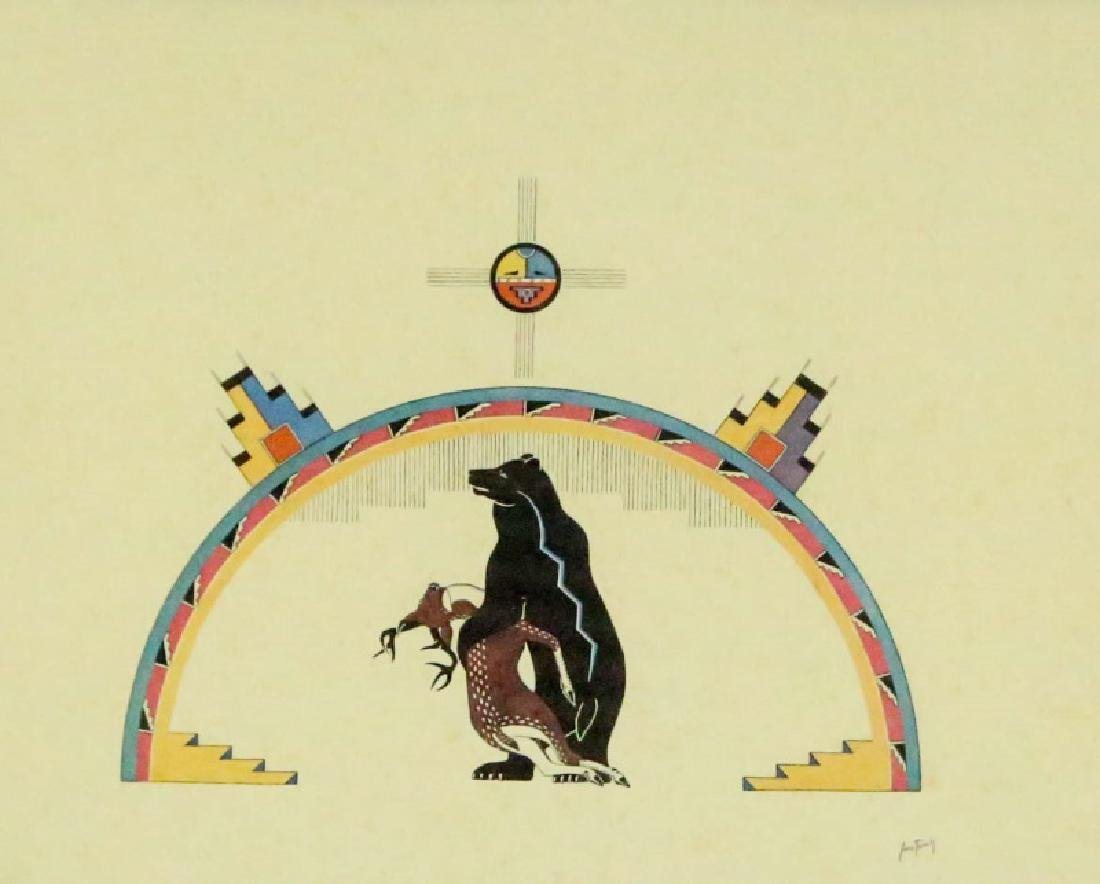 "AWA TSIREH ""RAINBOW OVER BEAR WITH DEER"" LITHOGRAPH - 2"