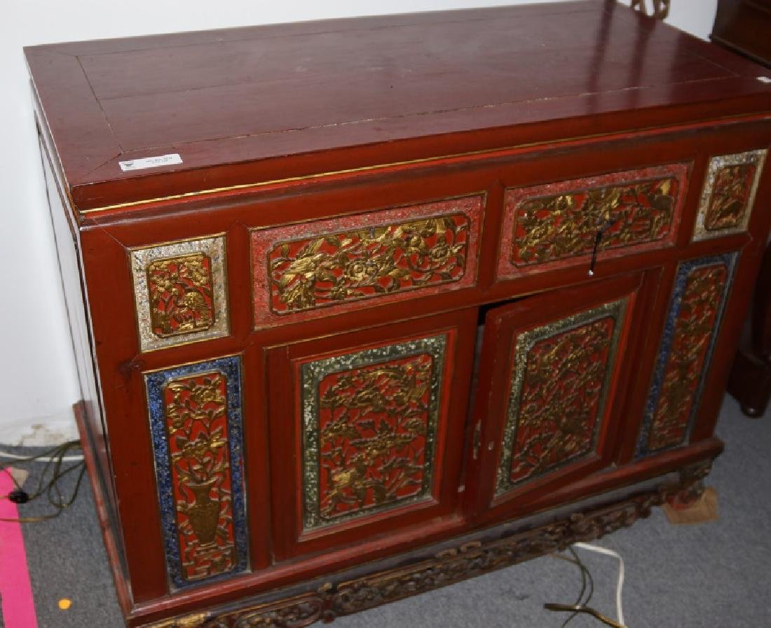 ANTIQUE RED LACQUERED CHINESE CABINET