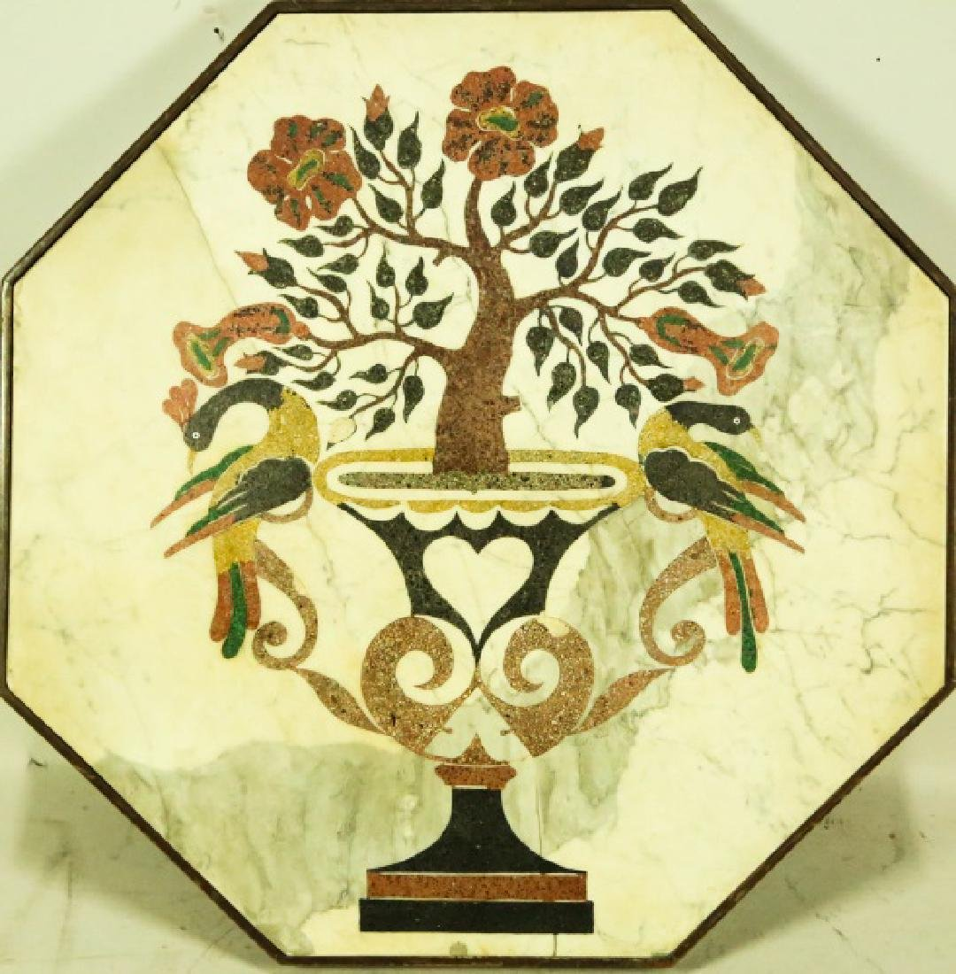 OCTAGONAL MARBLE PLAQUE WITH FLOWERING TREE IN URN