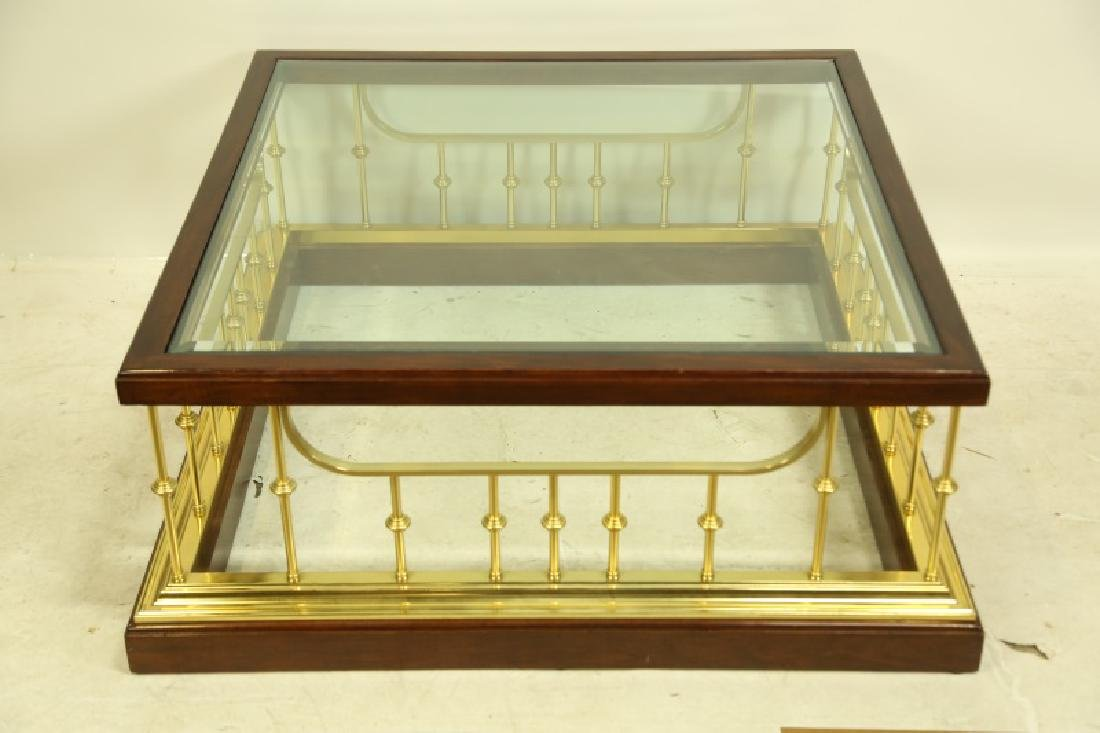 GLASS TOP BRASS BASE COFFEE TABLE