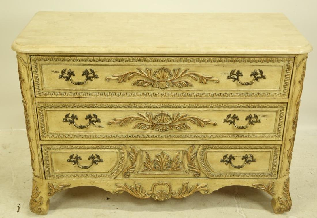 CHEST OF DRAWERS WITH TILED MARBLE TOP