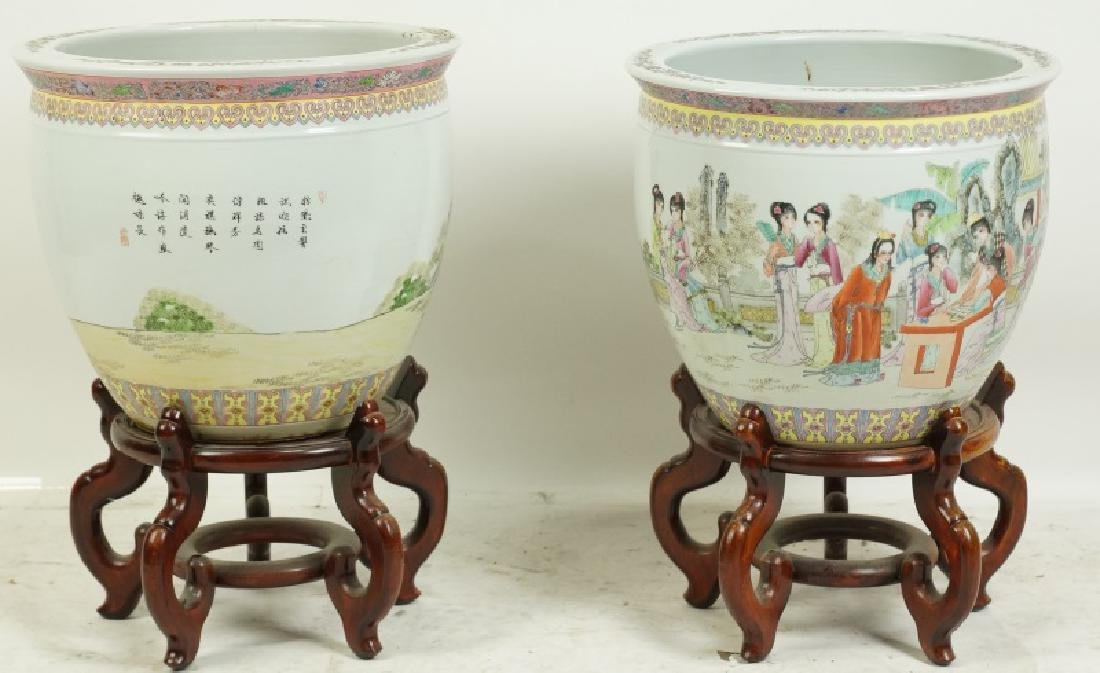 PAIR OF 19th CENTURY CHINESE PORCELAIN FISH POTSPS