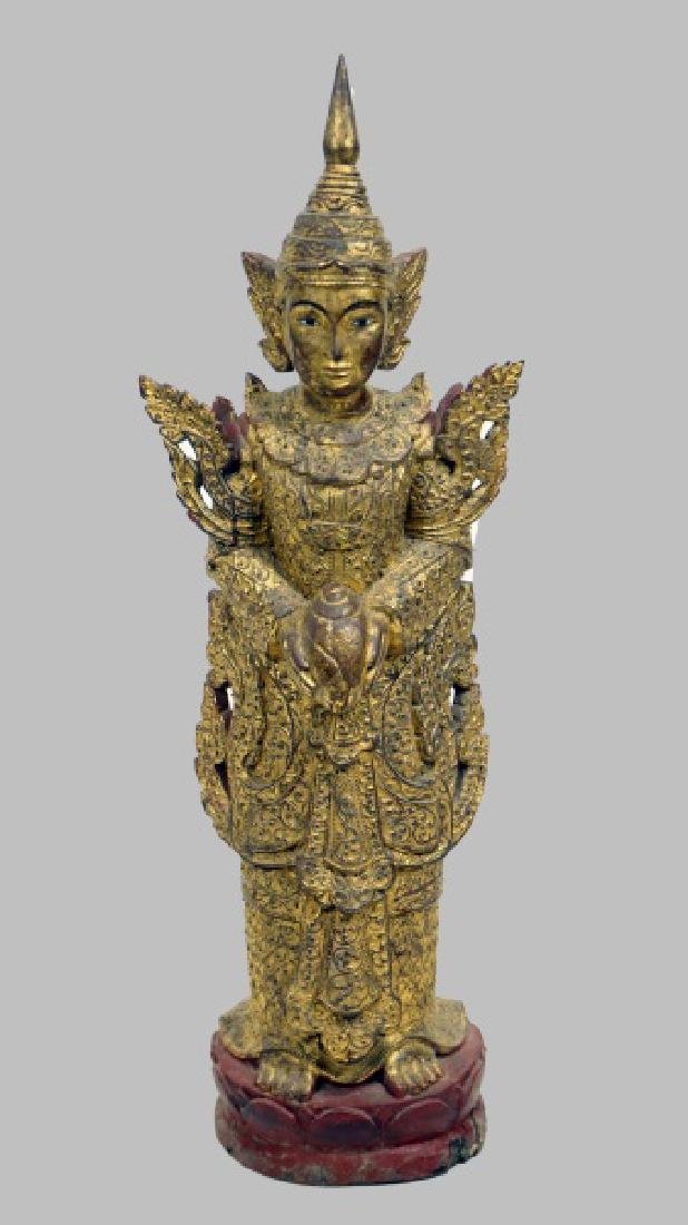 ANTIQUE CARVED & GILDED  PAVATI SCULPTURE