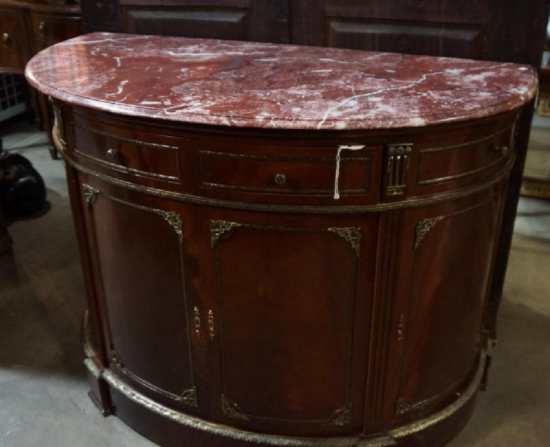 IN THE FRENCH TASTE MARBLE TOP DEMILUME CABINET
