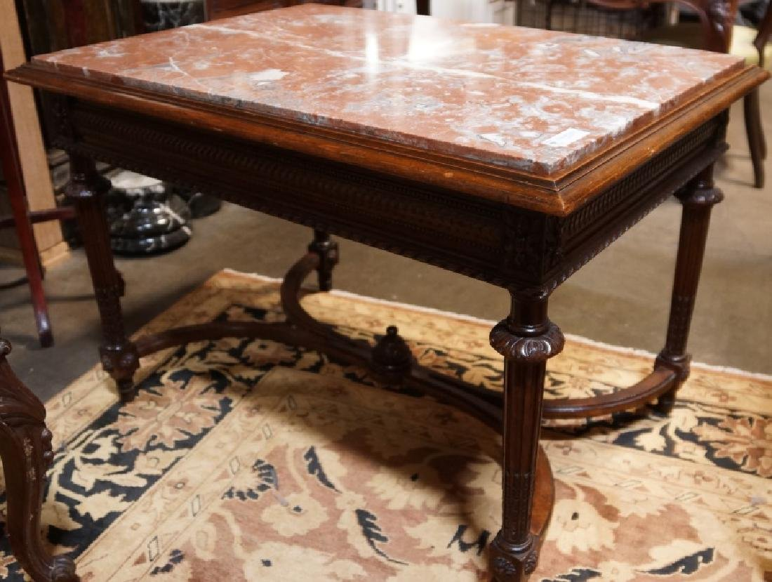 ANTIQUE CARVED WALNUT ROSE MARBLE TEA TABLE