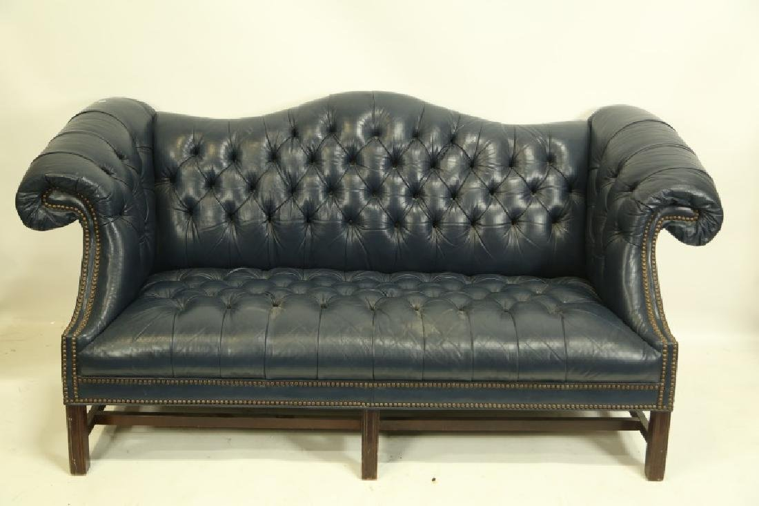 OLD HICKORY TANNERY LEATHER BUTTON TUFTED SOFA