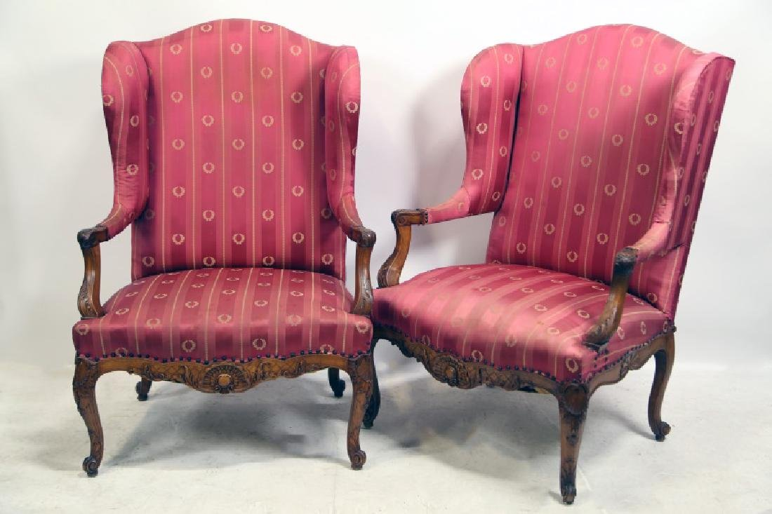 PAIR OF19th CENTURY FRENCH WING CHAIRS