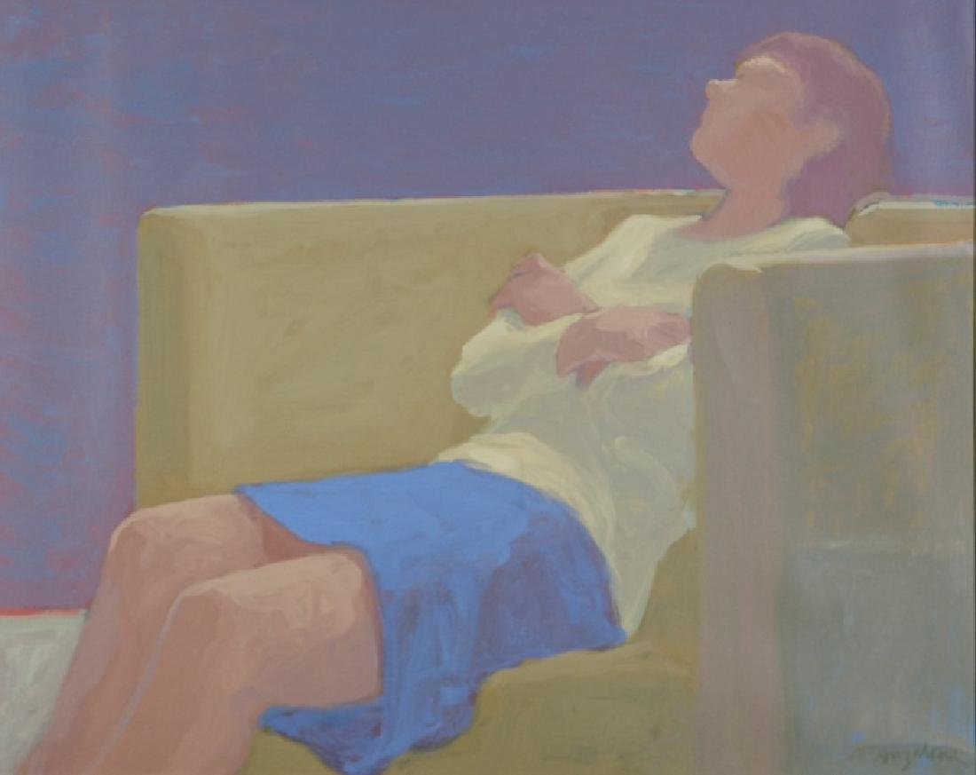 "WILLIAM ANZALONE ""LOUNGING WOMAN"" OIL ON CANVAS"