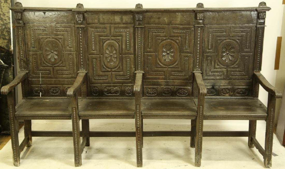 CIRCA 1600 SPANISH FOUR SEAT CHORAL BENCH