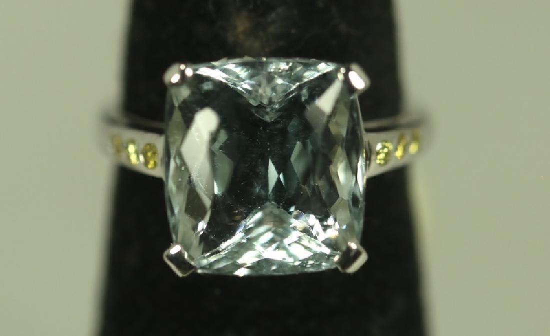 14KT GOLD AQUAMARINE & FANCY YELLOW DIAMOND RING