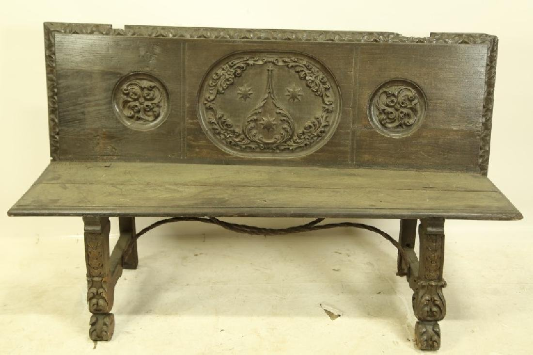 CIRCA 1600 SPANISH CARVED OAK BENCH
