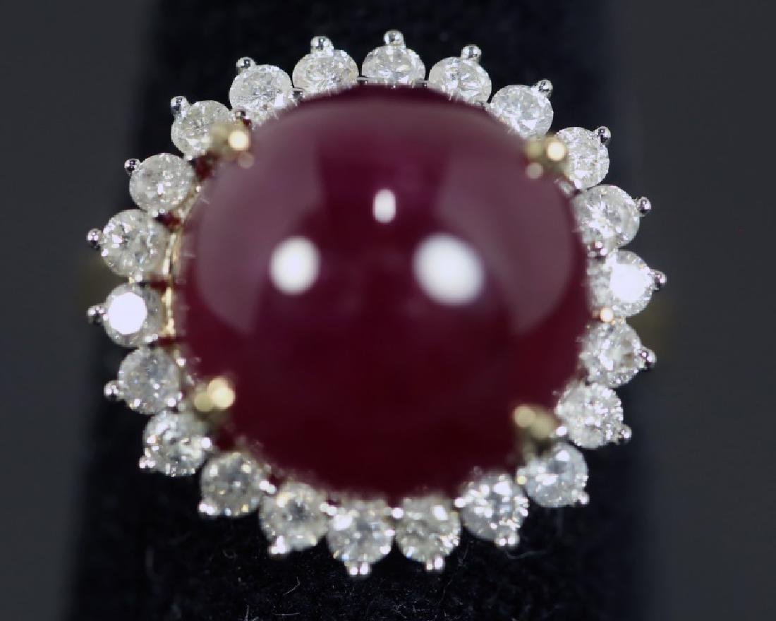 14KT GOLD 19.06CT RUBY  & 0.93CT DIAMOND RING